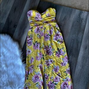 Spring yellow strapless long pant romper